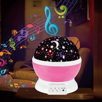 Dream Rotating Night Light Spin Flashing Starry Sky Star Projector Light With Music Player For Children