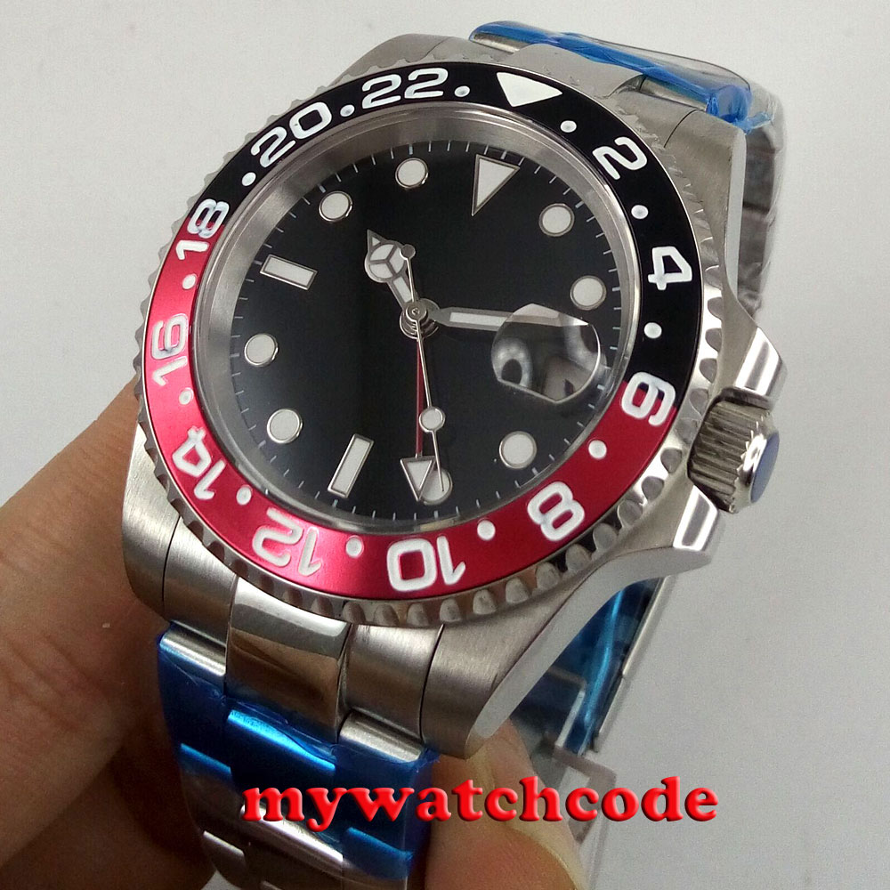 40mm parnis black sterile dial GMT sapphire glass date automatic mens watch P443 цена и фото