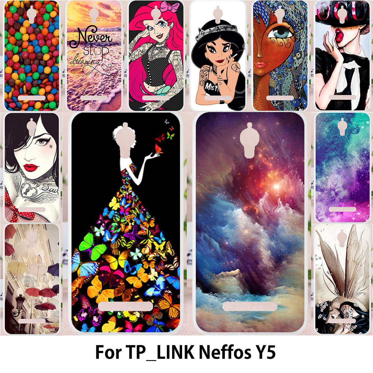 TAOYUNXI For TP-LINK Neffos Y5 TP802A cases Silicone Case For TPLINK Neffos Y5 tp link Painting Dream Girl Sky Candy Patterned
