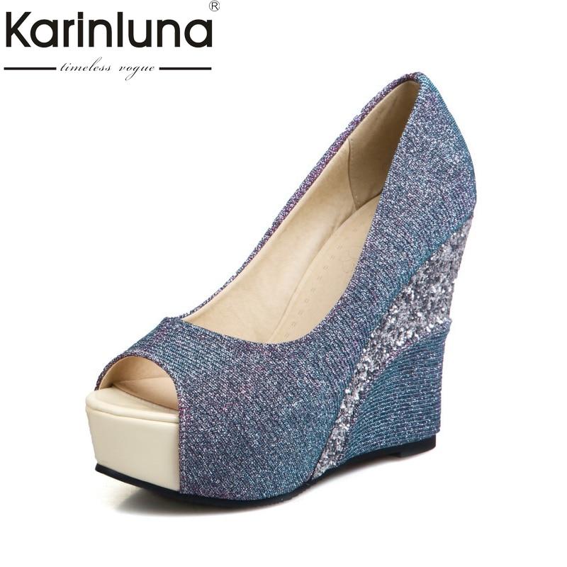 KARINLUNA brand shoes women size 33-43 peep toe pumps women shoes sexy bling upper wedge high heels wedding shoes woman luxury brand shoes women peep toe