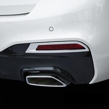 Abs 크롬 bmw 5 시리즈 g30 2017 2018 자동차 후면 안개 램프 라이트 커버 트림 자동차 액세서리 스타일링