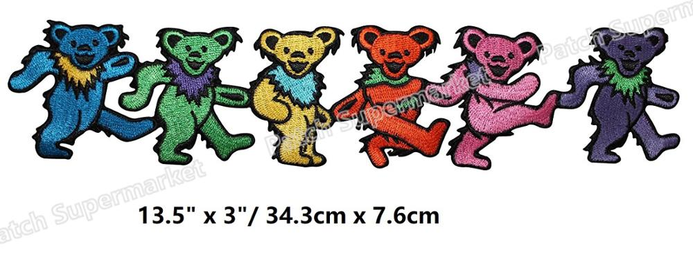 "13,5 ""XL gigante Grateful Dead Rainbow Dancing Bears hierro en parches música Banda Rock Punk bordado insignia rockabilly-in Parches from Hogar y Mascotas    1"