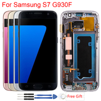 Original S7 AMOLED Screen For Samsung Galaxy S7 LCD Display With Frame Touch Screen Assembly Display For Samsung S7 G930f LCD