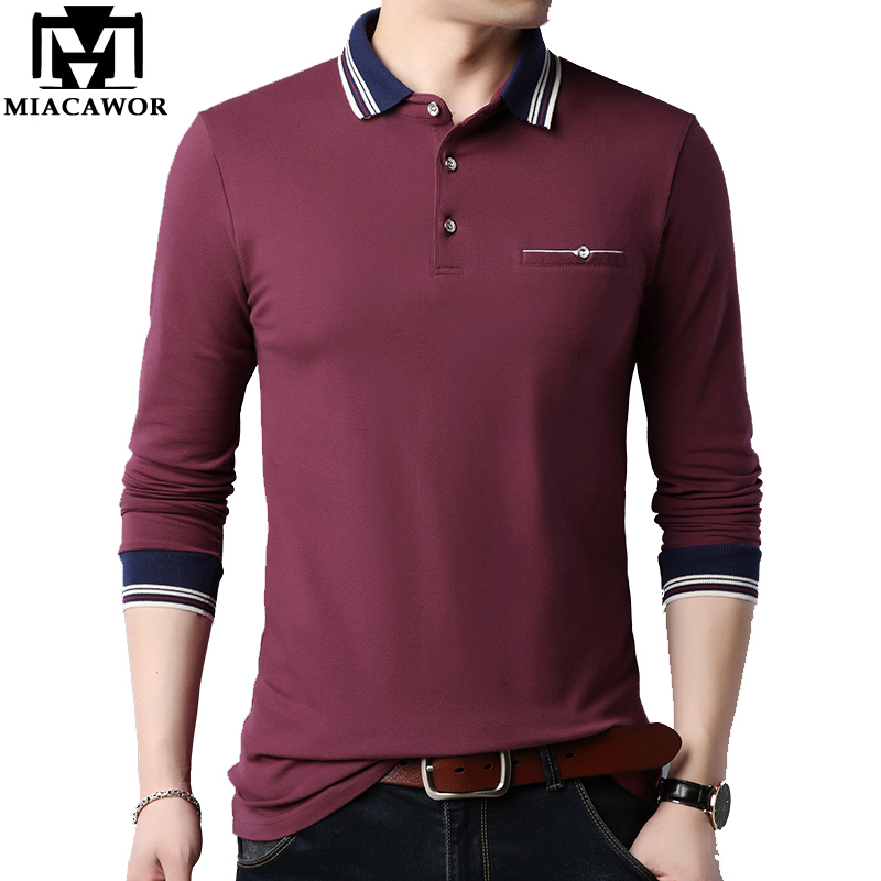 MIACAWOR New Brand Men   Polo   Shirt Cotton Slim Fit Solid Camisa   Polo   Spring Autumn Full Sleeves Casual Men Camisas 4XL 5XL T664