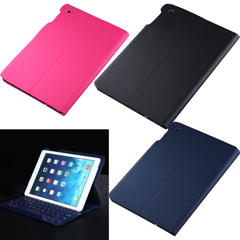 Portable New Ultra-thin Wireless Bluetooth Keyboard + PU Leather Case Cover Stand Holder for Apple iPad Air / Air 2 QJY9