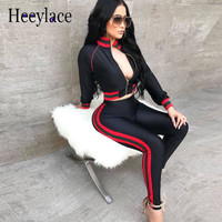 Striped Print Two Piece Set Cardigan Crop Top And Pants Suits Sweatsuit Set Moleton Feminino Tracksuit For Women Casual Costumes