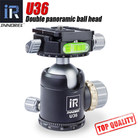 INNOREL U36 36mm Double panoramic ball head with ARCA SWISS QRP heavy duty 720 degree tripod head for Manfrotto Gitzo 20kg load