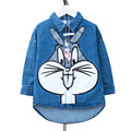 Manager highly recommended Girls fashion denim shirt With big lovely rabbit Short in front long design As a coat or worn alone