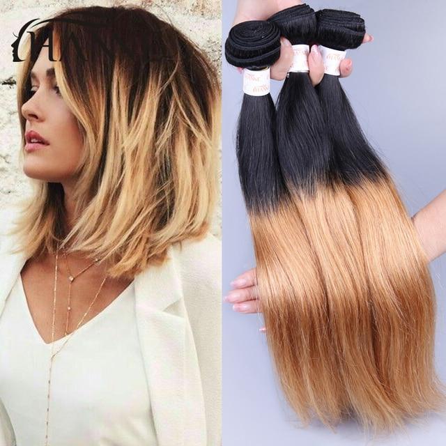 7a Ombre Brazilian Virgin Straight Hair 3 Bundles Short Ombre Blonde
