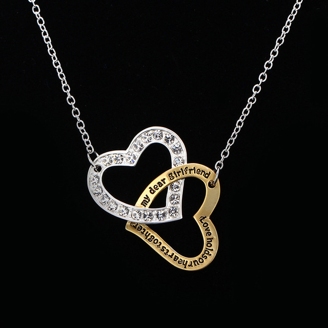 2017 valentines day women gifts double heart initial letter 2017 valentines day women gifts double heart initial letter necklaces for women fashion girls pendants necklaces mozeypictures Images