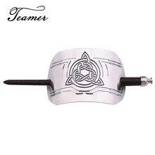Teamer gümüş renk Retro ahşap saç sopa Celtics düğüm takılar Hairwear Wicca el yapımı oyma Metal toka Hairwear