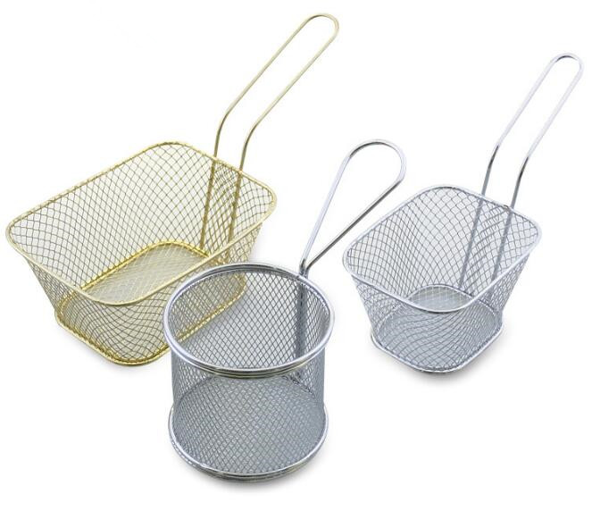 1PC Stainless Steel Chips Frying Basket Strainer Fryer Kitchen Cooking Chef Basket Colander Tool French Fries Basket OK 0780