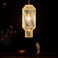 25x65cm Long Bamboo Wicker Rattan Lantern Pendant Light Fixture Nordic Chinese Asian Hanging Ceiling Lamp for Tea Dining Room