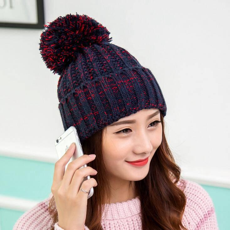 #0717 2016 Thick bonnet femme Fashion Winter hats for women Knitting beanie Skullies Tocas inverno feminino Bones masculino