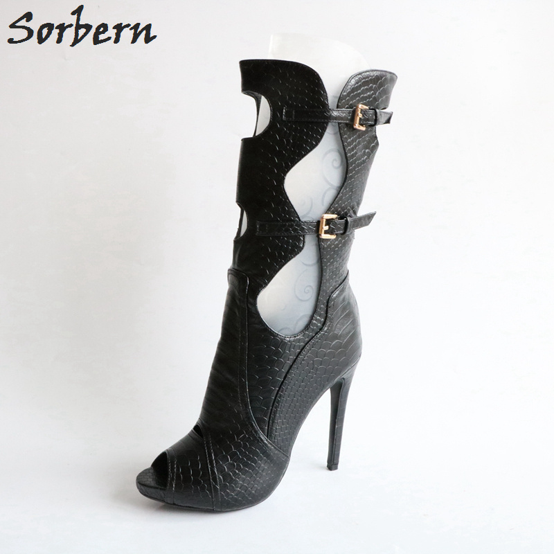 Sorbern black hollow out high heel ankle boots women summer style shoes platform open toe punk style pure color hollow out ring for women