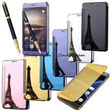 Sleep Mirror PU Leather Smart Flip Case Cover For Samsung Galaxy A9 Pro 2016 A9100 SM-A910F Luxury Half Transparent Auto Awake