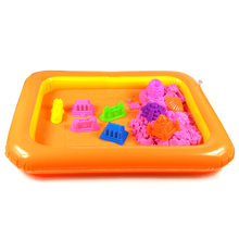 Inflatable Sand Tray Sand Plasticine Children Kids light clay Play beach Sand Molding Clay Color Mud sand montessori Toys(China)