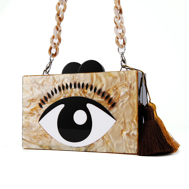 ac001a489 2016 Moda Cinza Pérola Mulheres Personalizado Bolsa Grande Estilo Olho  Claro e Transparente de Acrílico Saco