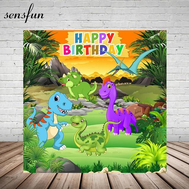 Karikatür dinozor parti zemin çocuk doğum günü partisi erkek fotoğraf stüdyosu için arka planlar özel vinil