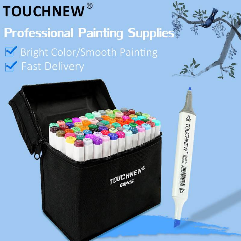 TOUCHNEW 12/30/60/80/108/168 Colors Art Markers Pen Alcohol Based Manga Drawing Markers Dual Head Pens Art Supplies
