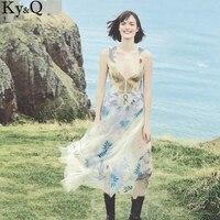 Ky Q 2017 New Women Embroidered Palm Flowers Cotton Yarn V Neck Dress Good Quality Vestidos
