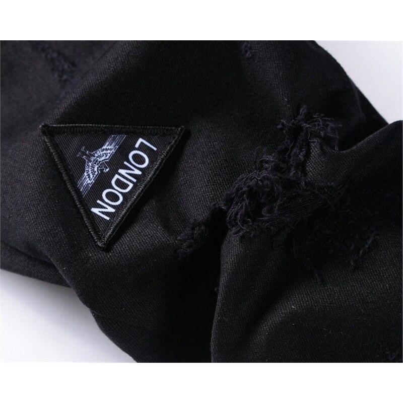 Pour Crâne Twill Mâle 2018 Denim Classique Marque D'affaires Pantalon Rayé Noir Hommes Slim Motard Mentale Stretch Jeans T1gIqwI