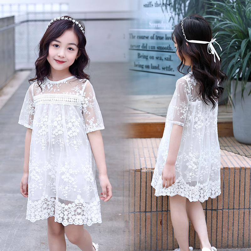 Baby Girl Lace Dress Pure White Princess Dress Party Wedding Summer Dress Clothes