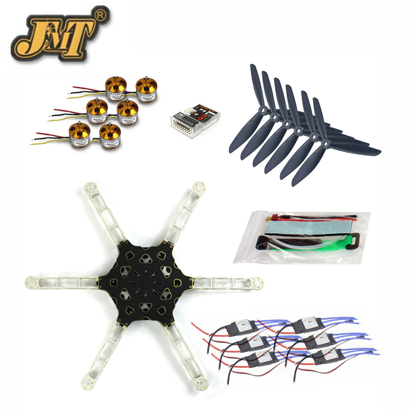 JMT DIY FPV Multirotor Drone QQ SUPER Multi-rotor Flight Control Alien Across Carbon Fiber RC Hexacopter Motor ESC drone with camera rc plane qav 250 carbon frame f3 flight controller emax rs2205 2300kv motor fiber mini quadcopter