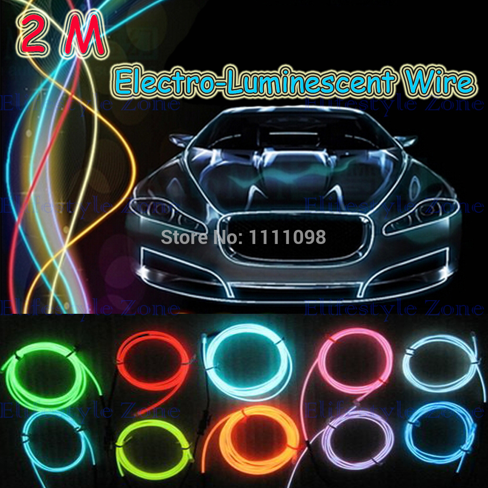 2M/ Lot Flexible Neon Light EL Electro Luminescent Wires With Controller Car Decoration for Tesla Hyundai Kia Lada венто neon m