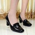 Zapatos de las mujeres, cuero genuino del dedo del pie cuadrado zapatos de tacón alto bombas de las mujeres, zapatos de vestido para las mujeres zapatos de la oficina, zapatos grandes del tamaño 8166-4