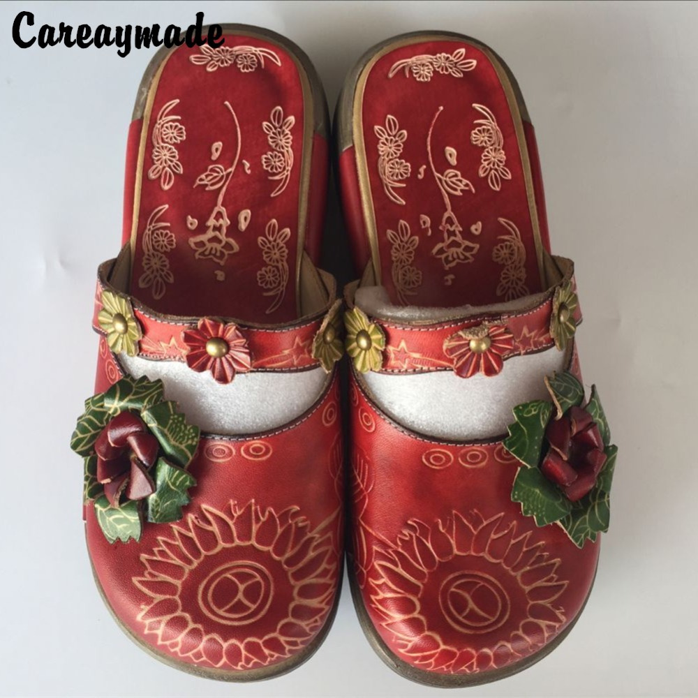 Careaymade Folk style Head layer cowhide pure handmade Carved shoes the retro art mori girl shoes