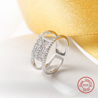 925 Sterling Silver Finger Big Ring Open Size Pave Setting Small CZ Ring Female Wedding Jewelry