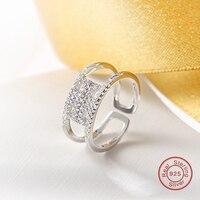 925 Sterling Silver Finger Big Ring, otwórz Rozmiar Pave Ustawianie Małe CZ Pierścień Biżuteria Ślubna Kobiet joyas de plata 925 (DK319)