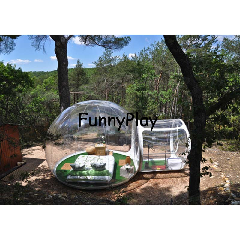 Amiable Outdoor Bubble Camping Tent Transparent Beach Tents With Free Blower And Repair Kit,inflatable Snow Winter Tents With Corridor Meticulous Dyeing Processes