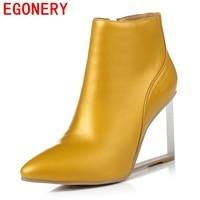 EGONERY buty 2017 kobiety moda botki pointed toe zipper konna jeździectwo eleganckie kliny naturalnej skóry wysokiej jakości