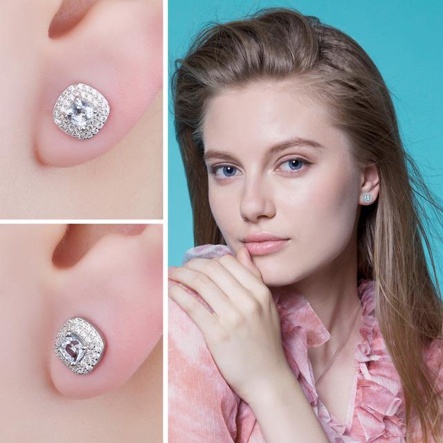 Natural Aquamarine Halo Stud Earrings