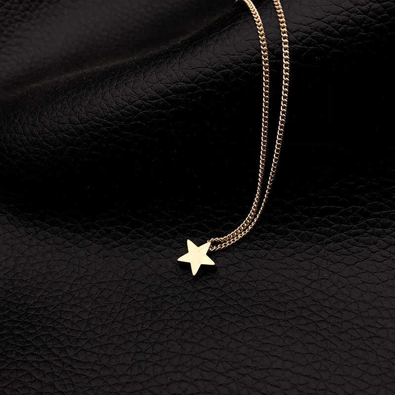 موضة الذهب اللون دلاية شكل نجمة قلادة سلسلة قصيرة الطبقات المختنق قلادة النساء بيان طوق مجوهرات هدية Bijoux x51