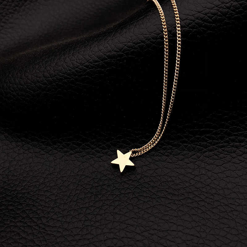 Fashion Gold Color Star Pendant Necklace Short Chain Layered Choker Necklace Women Statement Collar Jewelry Gift Bijoux x51