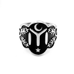 Мужское кольцо с Луной и звездами, серебряное кольцо из нержавеющей стали, мусульманское ювелирное изделие