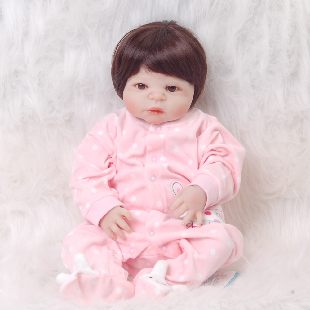 Fashion Babies Newborn 23'' Realistic Dolls Full Silicone Vinyl Lifelike Dolls Reborn Baby Toy For Girl Playmate Birthday Gifts цена