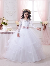 2017 Hot White Flower Girl Dresses Long Lace Sleeve Girls Pageant Dresses First Communion Dresses for Little Girls Ball Gown