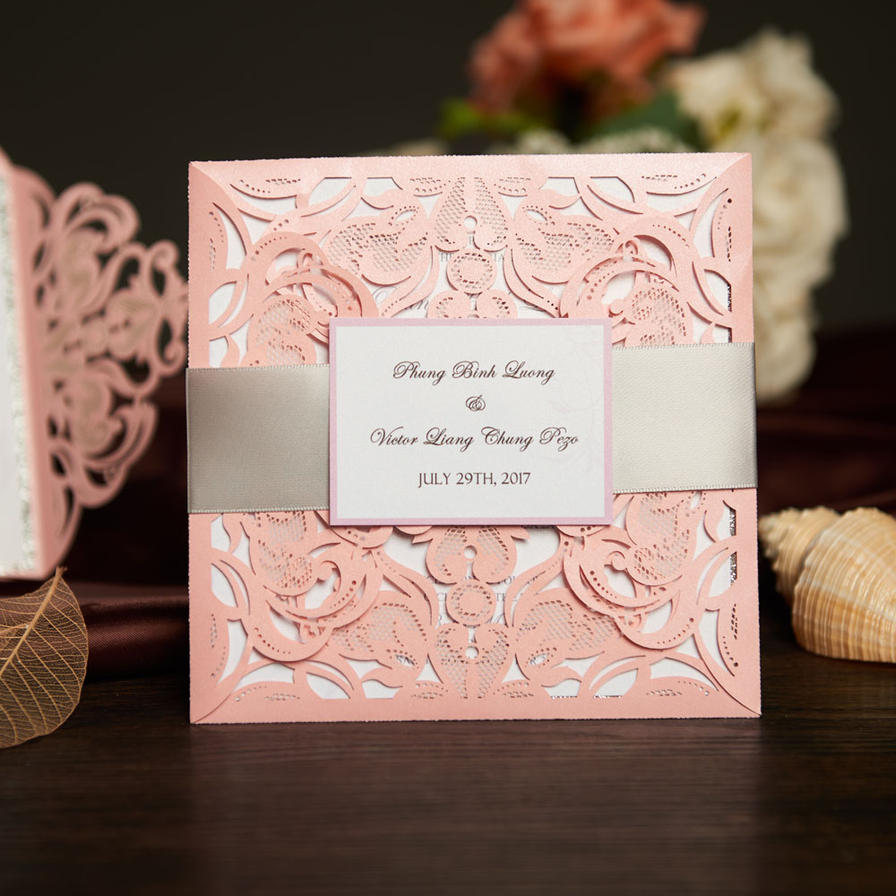 Laser Cut Wedding Invitations Card And Rsvp Elegant Birthday Party