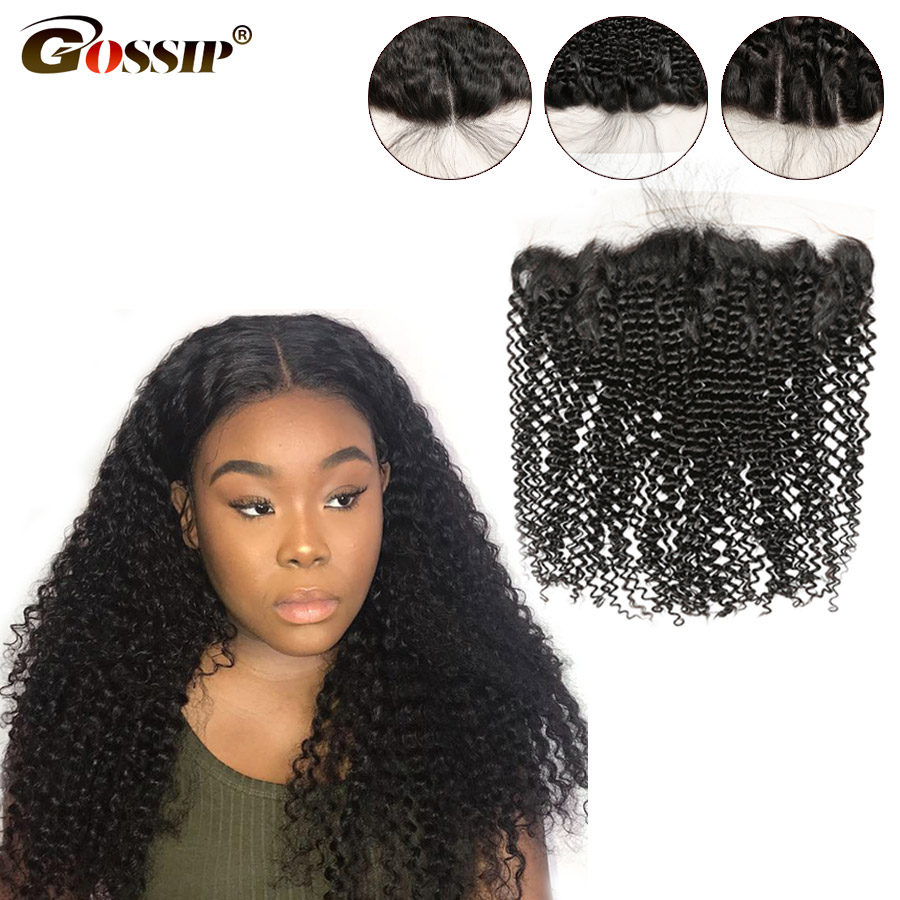 Kinky Curly Hair Lace Frontal Closure Brazilian Hair Pre Plucked Lace Frontal Remy Swiss Lace Closure