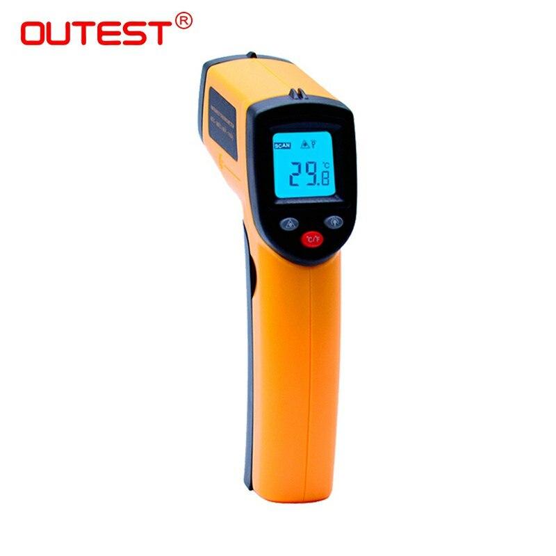 Termometro a infrarossi GM320 Senza Contatto del Laser Pistola A Raggi Infrarossi IR Termometro a CRISTALLI LIQUIDI display digitale-50 ~ 380 gradi 1 pz con la pelle box