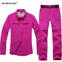 THE ARCTIC LIGHT Womens Outdoor Hiking Shirt And Pants Camping Fishing Trekking Quick Dry Suit Removable Summer Spring Autumn