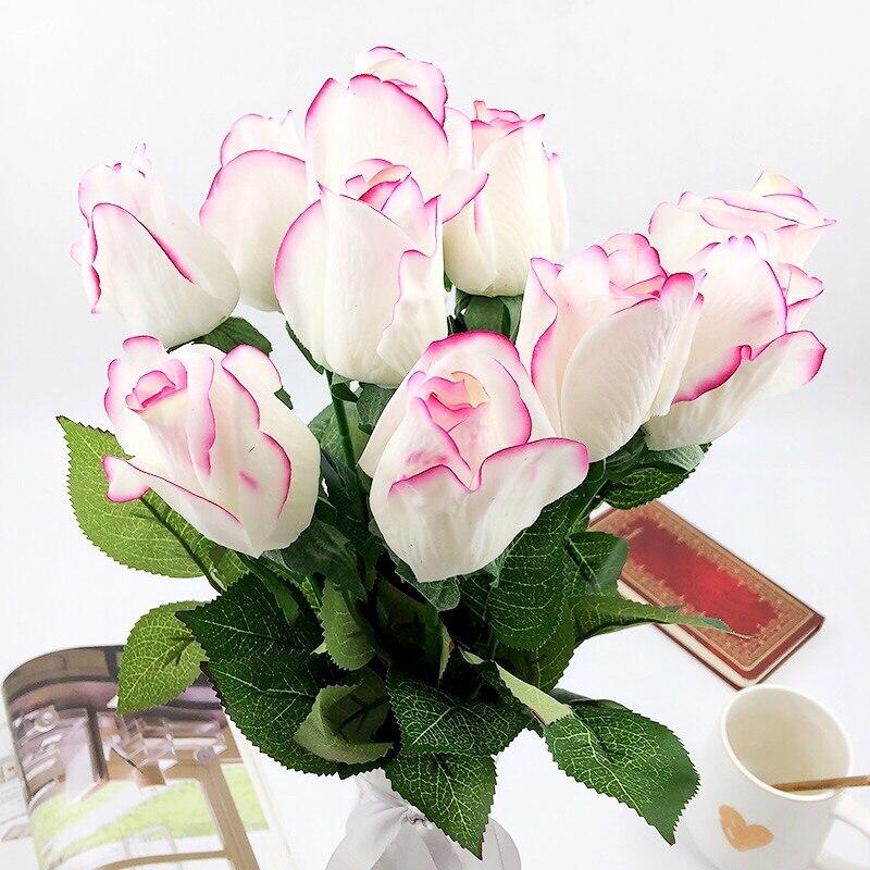 10st / set Rose Konstgjorda blommor bröllop Blommor Bridal Bouquet - Semester och fester - Foto 2