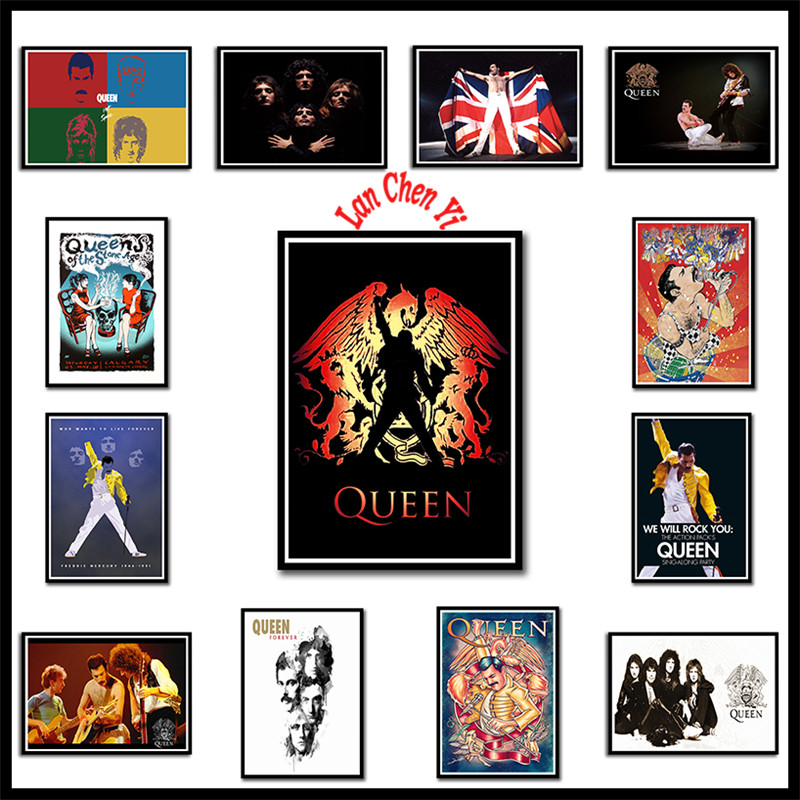 Queen Rock Band Coated Paper Posters Home Decor Painting Wall StickersCoated Paper Posters 42*30cm