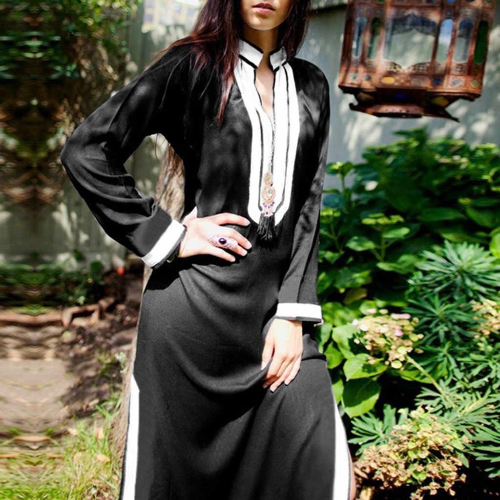 Свободные женские платья с длинным рукавом и v-образным вырезом, однотонное платье-туника с разрезом сбоку, праздничное платье-кафтан, vestido elbise robe 44 # G7