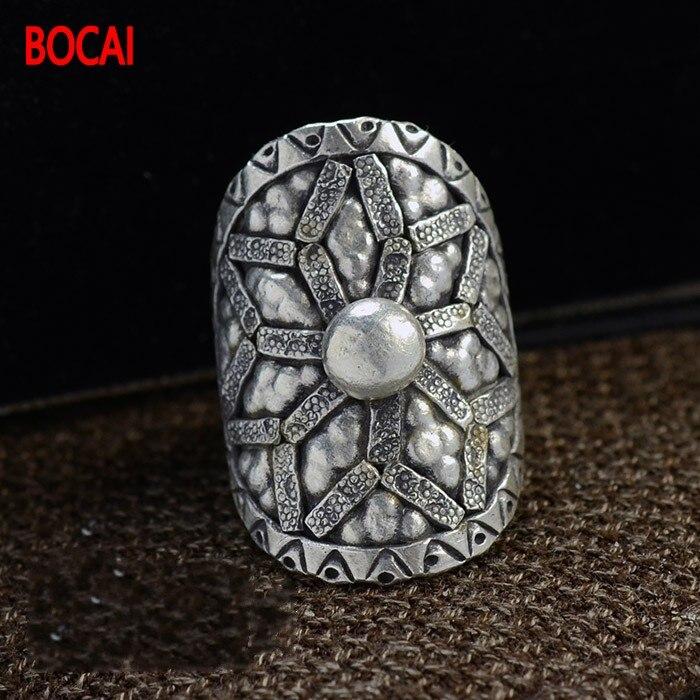 Thaïlande Changqing bijoux en gros importation manuel S925 argent réglable anneau ouverture bouche 16