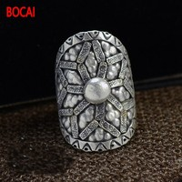 Thailand Changqing jewelry wholesale import manual S925 silver silver adjustable ring opening mouth 16